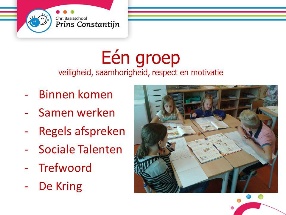 Eén groep veiligheid, saamhorigheid, respect en motivatie -Binnen komen -Samen werken -Regels afspreken -Sociale Talenten -Trefwoord -De Kring