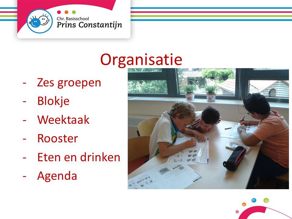 Organisatie -Zes groepen -Blokje -Weektaak -Rooster -Eten en drinken -Agenda