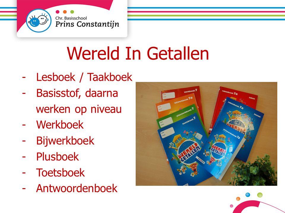 Wereld In Getallen -Lesboek / Taakboek -Basisstof, daarna werken op niveau -Werkboek -Bijwerkboek -Plusboek -Toetsboek -Antwoordenboek
