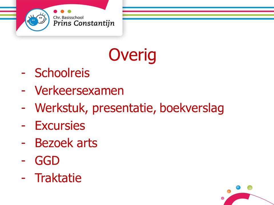 Overig -Schoolreis -Verkeersexamen -Werkstuk, presentatie, boekverslag -Excursies -Bezoek arts -GGD -Traktatie