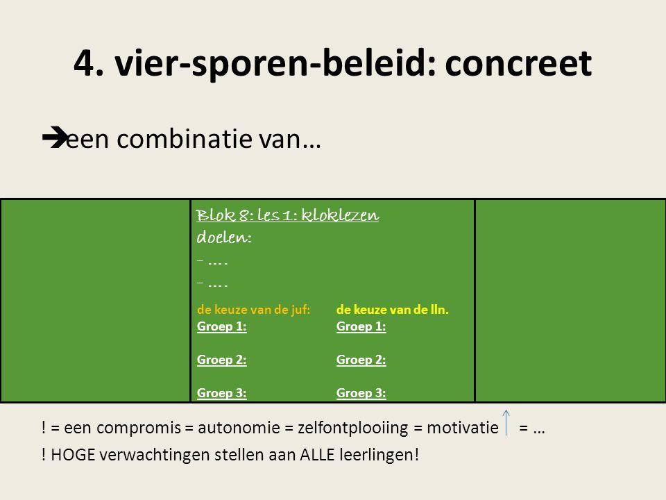 4. vier-sporen-beleid: concreet  een combinatie van… ! = een compromis = autonomie = zelfontplooiing = motivatie = … ! HOGE verwachtingen stellen aan