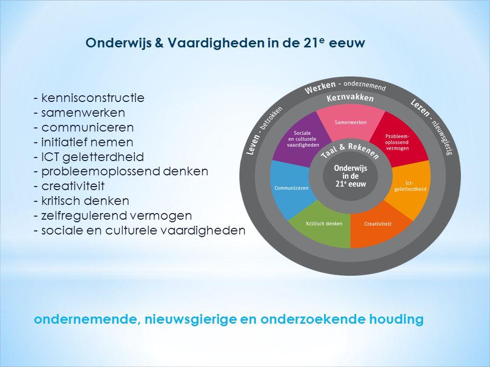 - kennisconstructie - samenwerken - communiceren - initiatief nemen - ICT geletterdheid - probleemoplossend denken - creativiteit - kritisch denken -