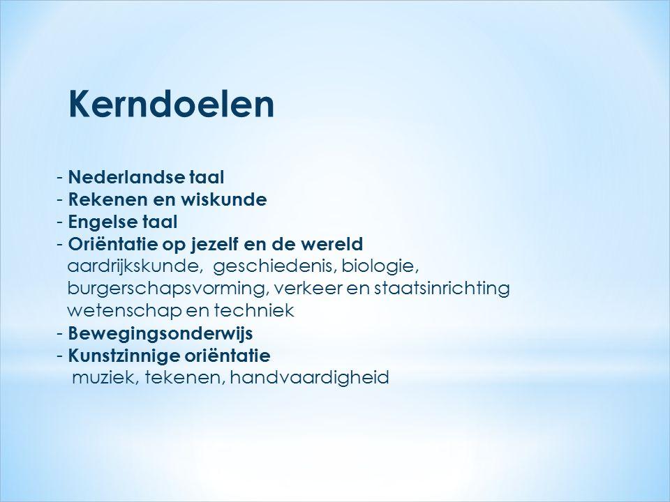 Kerndoelen - Nederlandse taal - Rekenen en wiskunde - Engelse taal - Oriëntatie op jezelf en de wereld aardrijkskunde, geschiedenis, biologie, burgers