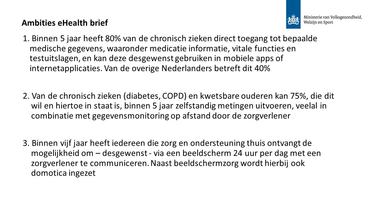 Ambities eHealth brief 1.