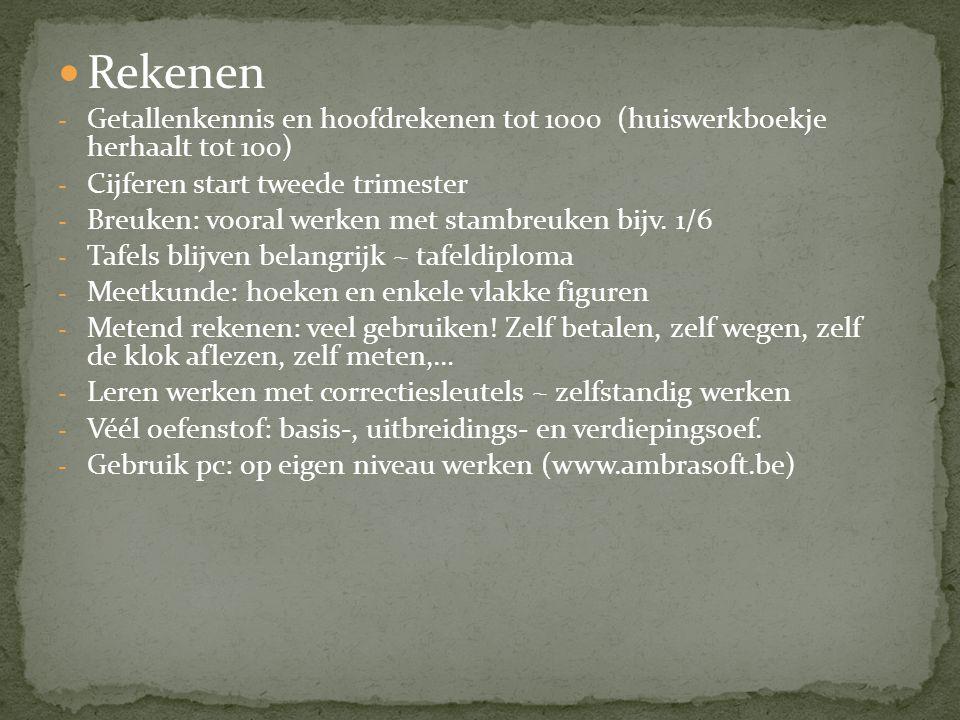 Rekenen - Getallenkennis en hoofdrekenen tot 1000 (huiswerkboekje herhaalt tot 100) - Cijferen start tweede trimester - Breuken: vooral werken met sta