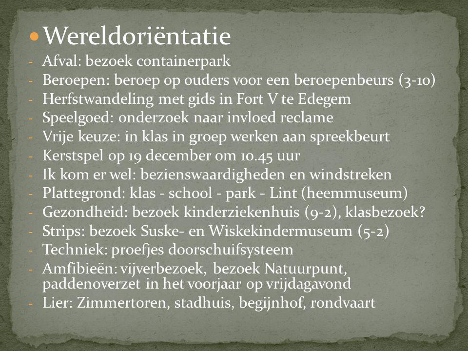 Wereldoriëntatie - Afval: bezoek containerpark - Beroepen: beroep op ouders voor een beroepenbeurs (3-10) - Herfstwandeling met gids in Fort V te Edeg
