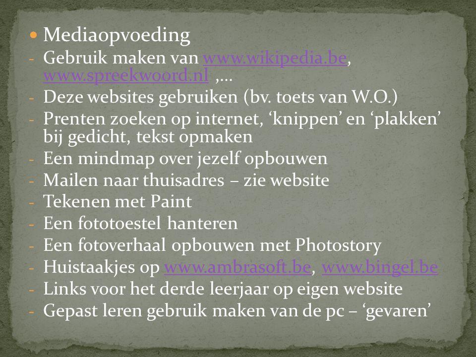 Mediaopvoeding - Gebruik maken van www.wikipedia.be, www.spreekwoord.nl,...www.wikipedia.be www.spreekwoord.nl - Deze websites gebruiken (bv. toets va