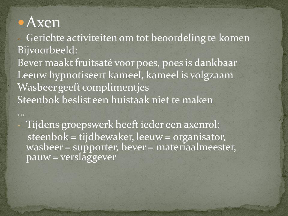Axen - Gerichte activiteiten om tot beoordeling te komen Bijvoorbeeld: Bever maakt fruitsaté voor poes, poes is dankbaar Leeuw hypnotiseert kameel, ka