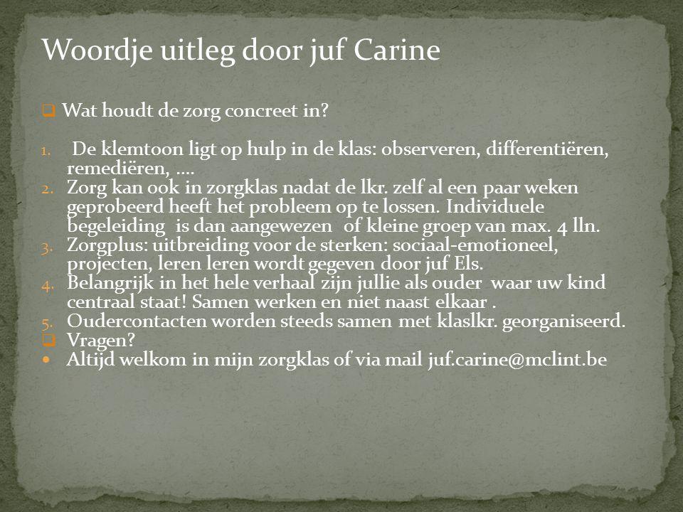 Woordje uitleg door juf Carine  Wat houdt de zorg concreet in? 1. De klemtoon ligt op hulp in de klas: observeren, differentiëren, remediëren, …. 2.