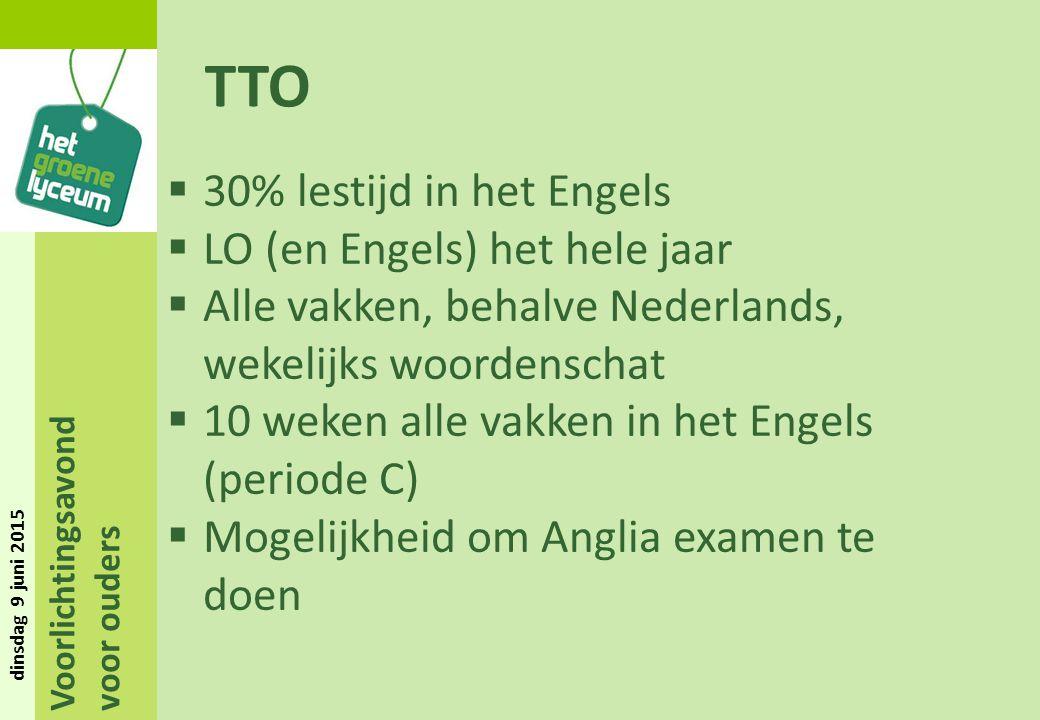 Voorlichtingsavond voor ouders dinsdag 9 juni 2015 TTO  30% lestijd in het Engels  LO (en Engels) het hele jaar  Alle vakken, behalve Nederlands, w