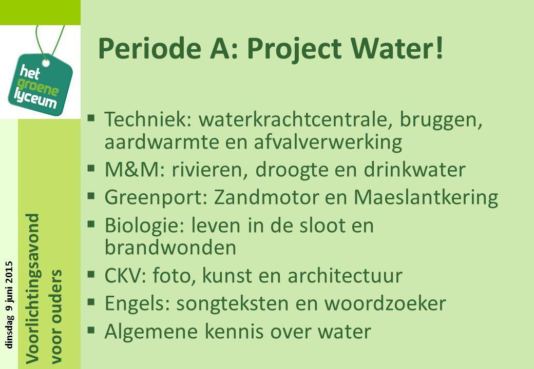 Voorlichtingsavond voor ouders dinsdag 9 juni 2015 Periode A: Project Water!  Techniek: waterkrachtcentrale, bruggen, aardwarmte en afvalverwerking 