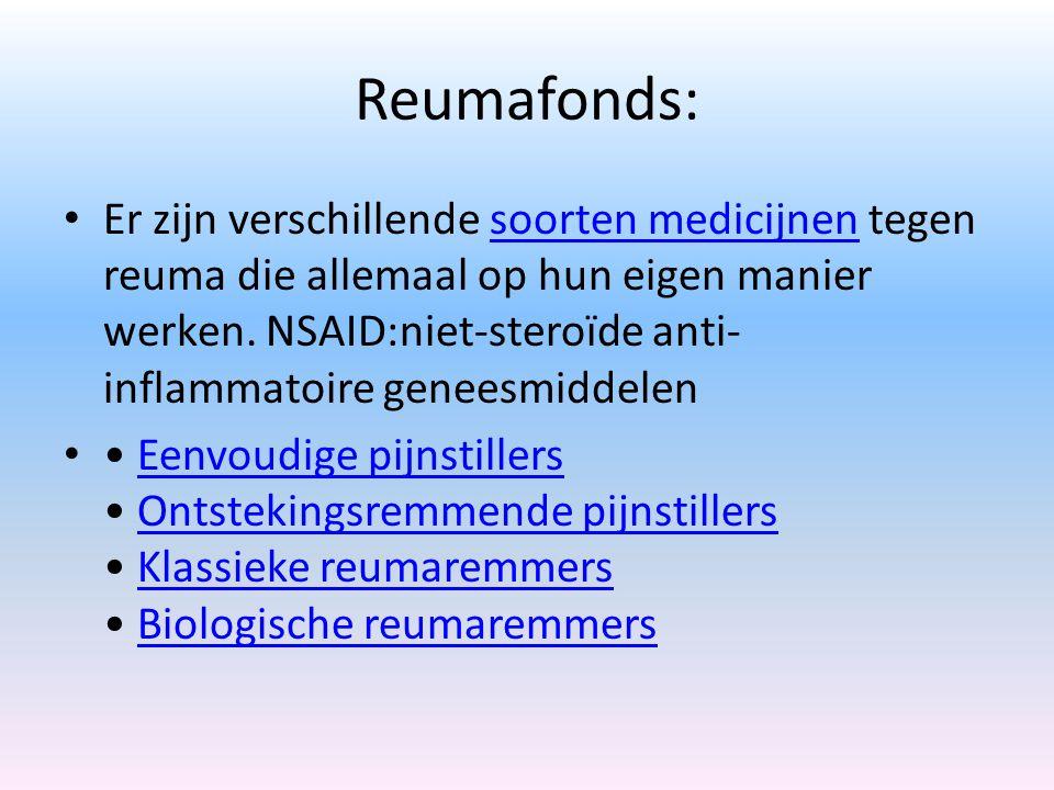 Reumafonds: Er zijn verschillende soorten medicijnen tegen reuma die allemaal op hun eigen manier werken.