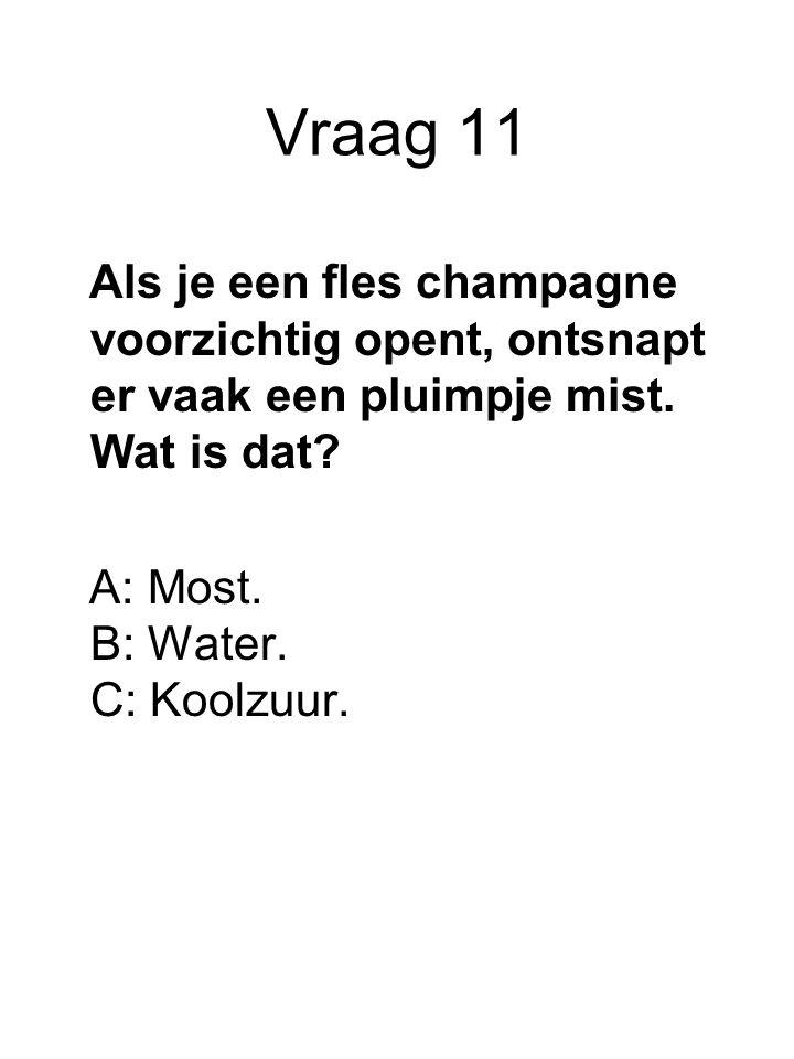 Vraag 11 Als je een fles champagne voorzichtig opent, ontsnapt er vaak een pluimpje mist.