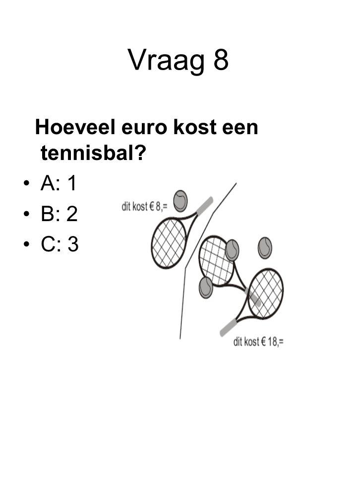 Vraag 8 Hoeveel euro kost een tennisbal? A: 1 B: 2 C: 3