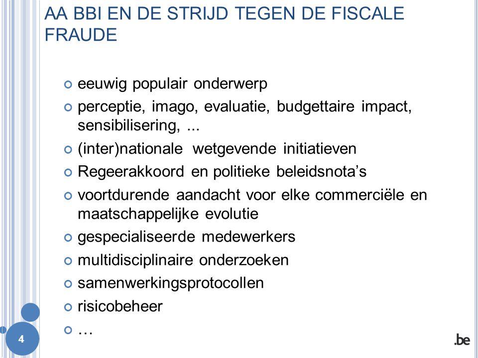 AA BBI in 3 cijfers : Aantal medewerkers 2014 : 612 (FOD Financiën : > 23000) Aantal behandelde dossiers 2014 (inkomstenbelastingen en BTW) : 1582 Belastingsupplementen (sancties inbegrepen) 2014 : 1.401.036.000 € 5