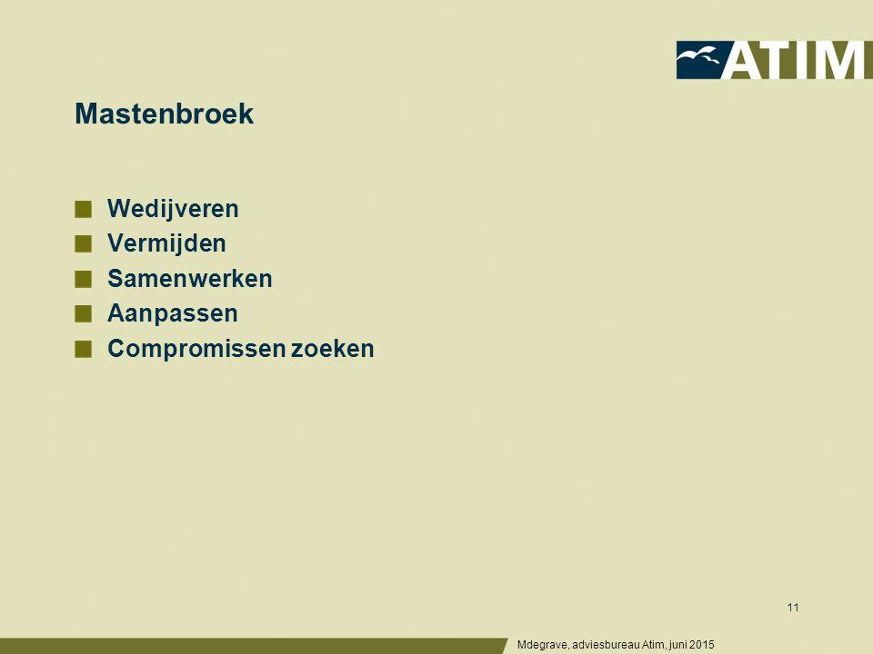 Mastenbroek Wedijveren Vermijden Samenwerken Aanpassen Compromissen zoeken Mdegrave, adviesbureau Atim, juni 2015 11