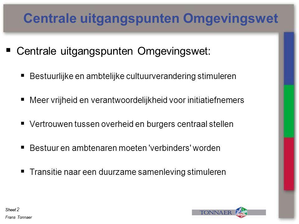 Frans Tonnaer Sheet Frans Tonnaer Sheet  Reguliere (korte) procedure van toepassing met bezwaar en beroep  Voor grotere projecten: van burgerparticipatie naar overheids- participatie.