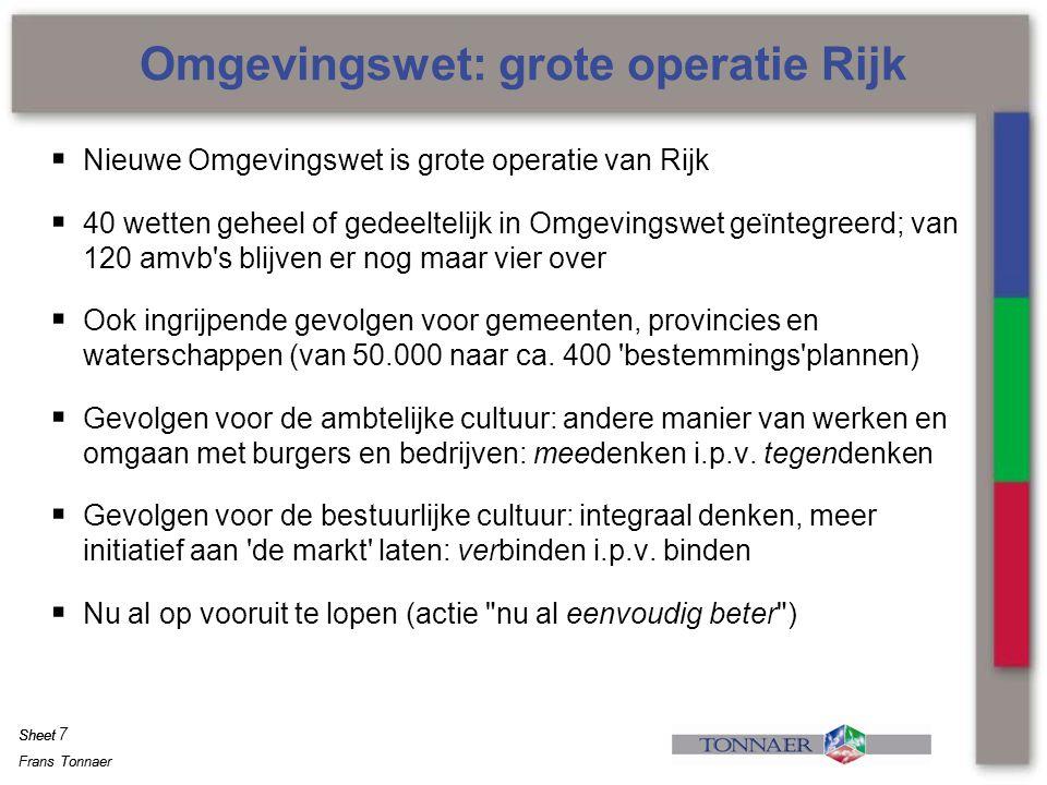 Frans Tonnaer Sheet Frans Tonnaer Sheet  Nieuwe Omgevingswet is grote operatie van Rijk  40 wetten geheel of gedeeltelijk in Omgevingswet geïntegree
