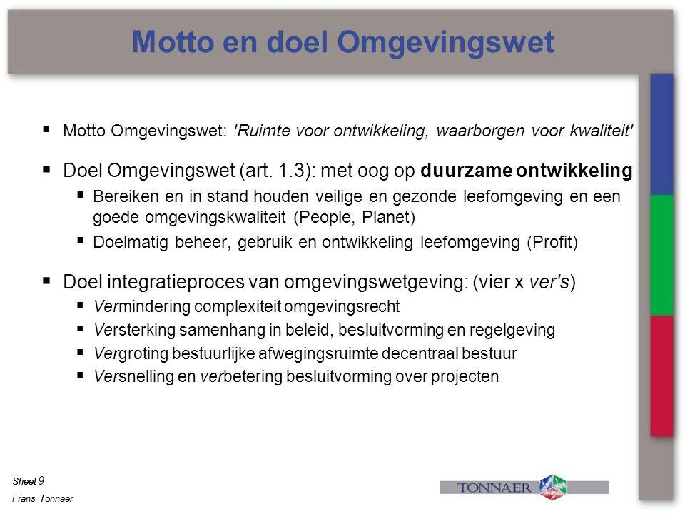 Frans Tonnaer Sheet Frans Tonnaer Sheet  Motto Omgevingswet: 'Ruimte voor ontwikkeling, waarborgen voor kwaliteit'  Doel Omgevingswet (art. 1.3): me