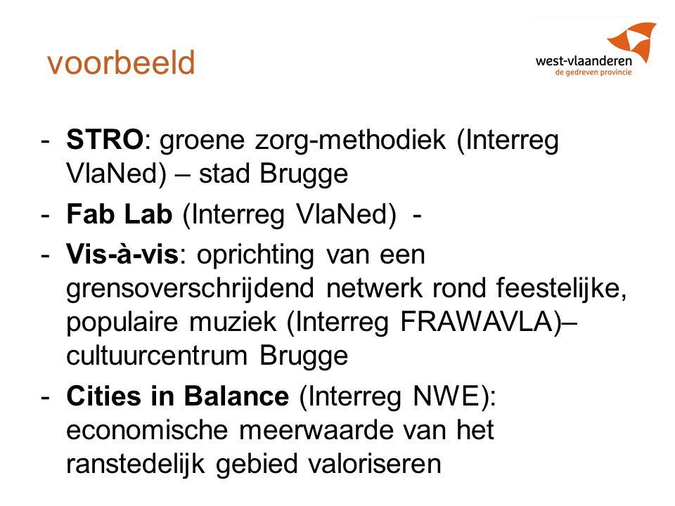 voorbeeld -STRO: groene zorg-methodiek (Interreg VlaNed) – stad Brugge -Fab Lab (Interreg VlaNed) - -Vis-à-vis: oprichting van een grensoverschrijdend