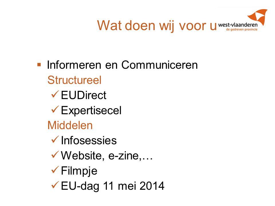 Wat doen wij voor u?  Informeren en Communiceren Structureel EUDirect Expertisecel Middelen Infosessies Website, e-zine,… Filmpje EU-dag 11 mei 2014
