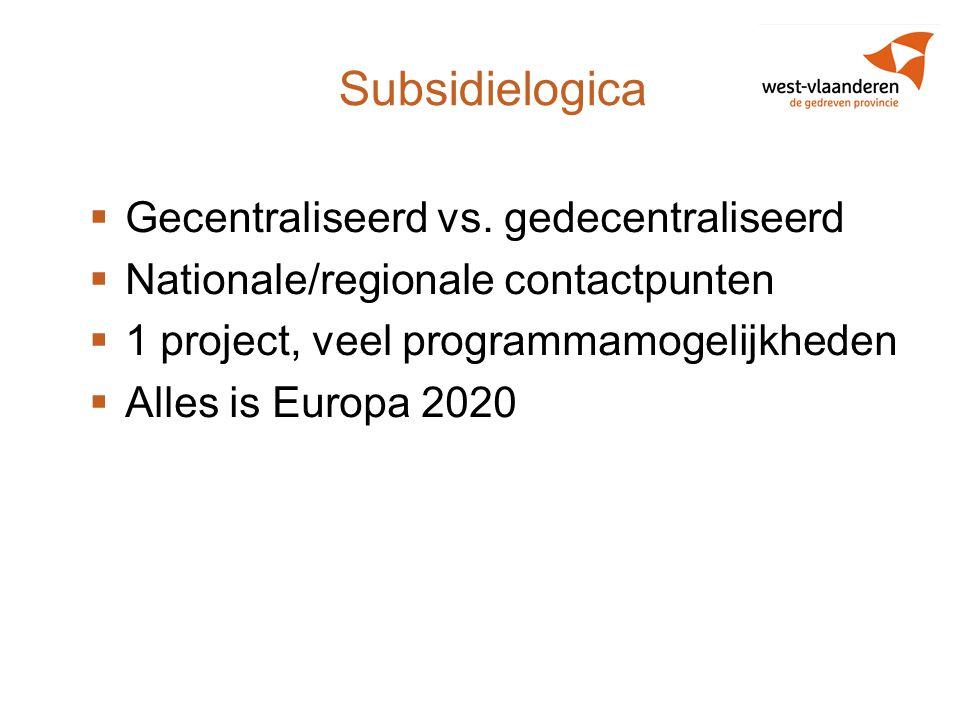 Subsidielogica  Gecentraliseerd vs. gedecentraliseerd  Nationale/regionale contactpunten  1 project, veel programmamogelijkheden  Alles is Europa