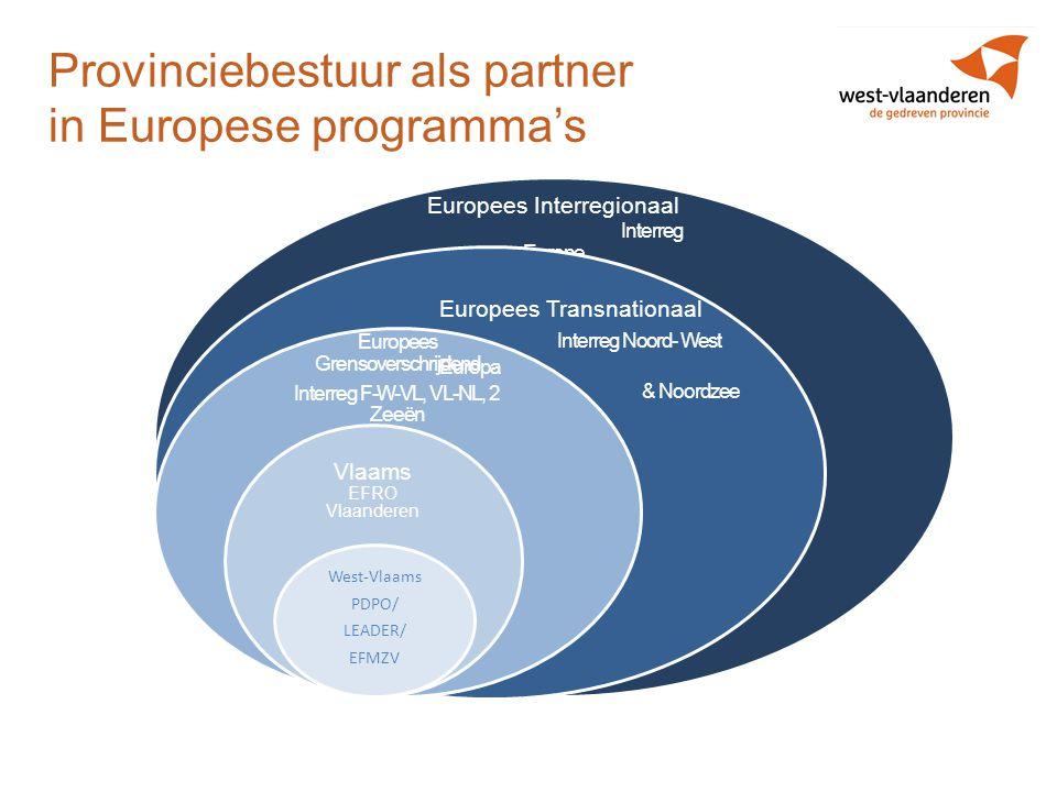 Provinciebestuur als partner in Europese programma's Europees Interregionaal Interreg Europe Europees Grensoverschrijdend Interreg F-W-VL, VL-NL, 2 Ze