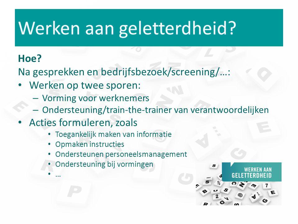 Hoe? Na gesprekken en bedrijfsbezoek/screening/…: Werken op twee sporen: – Vorming voor werknemers – Ondersteuning/train-the-trainer van verantwoordel