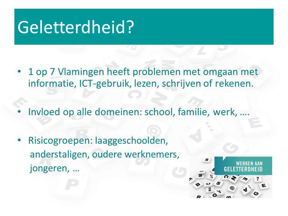 1 op 7 Vlamingen heeft problemen met omgaan met informatie, ICT-gebruik, lezen, schrijven of rekenen. Invloed op alle domeinen: school, familie, werk,