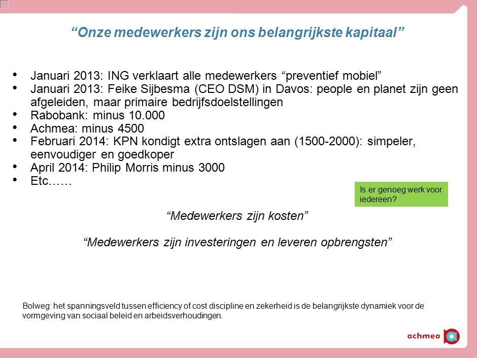 """""""Onze medewerkers zijn ons belangrijkste kapitaal"""" Januari 2013: ING verklaart alle medewerkers """"preventief mobiel"""" Januari 2013: Feike Sijbesma (CEO"""