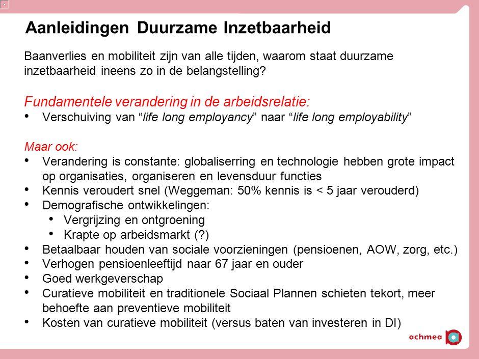 """Aanleidingen Duurzame Inzetbaarheid Fundamentele verandering in de arbeidsrelatie: Verschuiving van """"life long employancy"""" naar """"life long employabili"""
