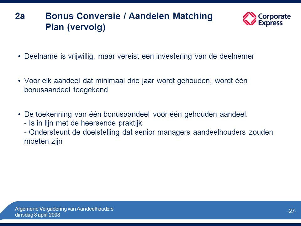 Algemene Vergadering van Aandeelhouders dinsdag 8 april 2008 -27- 2a Bonus Conversie / Aandelen Matching Plan (vervolg) Deelname is vrijwillig, maar vereist een investering van de deelnemer Voor elk aandeel dat minimaal drie jaar wordt gehouden, wordt één bonusaandeel toegekend De toekenning van één bonusaandeel voor één gehouden aandeel: - Is in lijn met de heersende praktijk - Ondersteunt de doelstelling dat senior managers aandeelhouders zouden moeten zijn