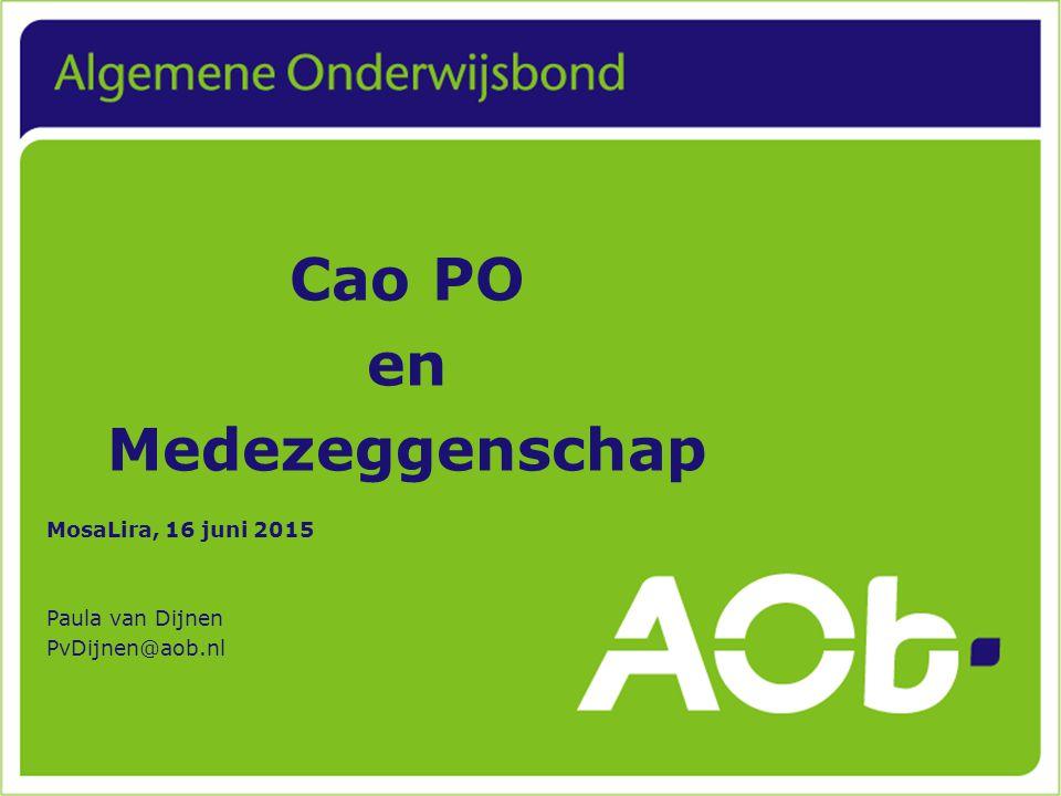 Cao PO en Medezeggenschap MosaLira, 16 juni 2015 Paula van Dijnen PvDijnen@aob.nl