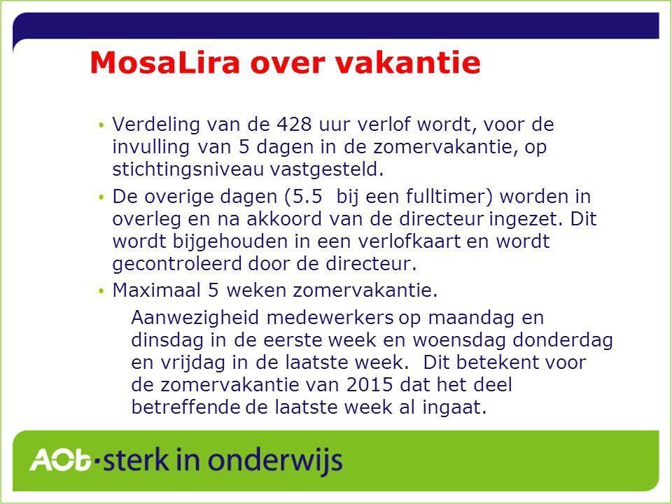 MosaLira over vakantie Verdeling van de 428 uur verlof wordt, voor de invulling van 5 dagen in de zomervakantie, op stichtingsniveau vastgesteld.