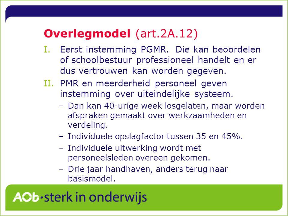 Overlegmodel (art.2A.12) I.Eerst instemming PGMR.