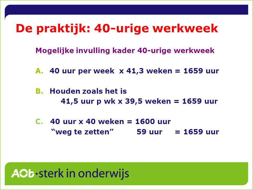 De praktijk: 40-urige werkweek Mogelijke invulling kader 40-urige werkweek A.40 uur per week x 41,3 weken = 1659 uur B.Houden zoals het is 41,5 uur p wk x 39,5 weken = 1659 uur C.