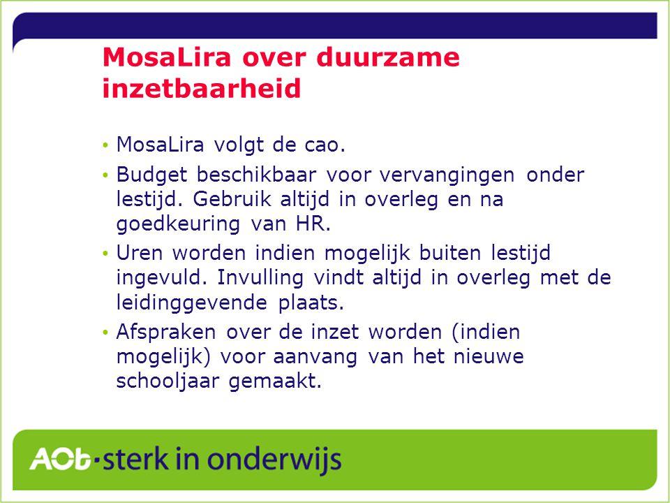 MosaLira over duurzame inzetbaarheid MosaLira volgt de cao.
