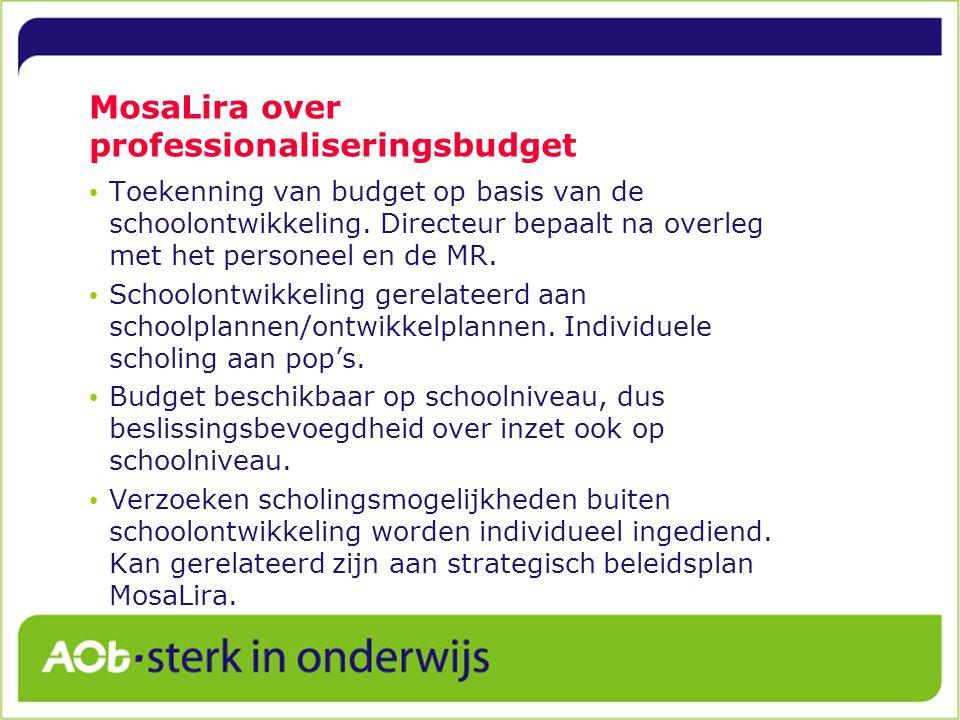 MosaLira over professionaliseringsbudget Toekenning van budget op basis van de schoolontwikkeling.