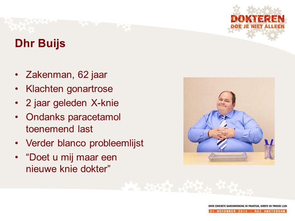Dhr Buijs Zakenman, 62 jaar Klachten gonartrose 2 jaar geleden X-knie Ondanks paracetamol toenemend last Verder blanco probleemlijst Doet u mij maar een nieuwe knie dokter