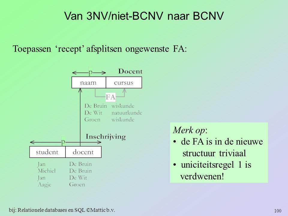 Van 3NV/niet-BCNV naar BCNV Toepassen 'recept' afsplitsen ongewenste FA: Merk op: de FA is in de nieuwe structuur triviaal uniciteitsregel 1 is verdwe