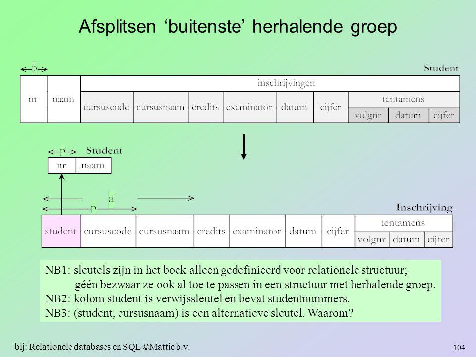 Afsplitsen 'buitenste' herhalende groep NB1: sleutels zijn in het boek alleen gedefinieerd voor relationele structuur; géén bezwaar ze ook al toe te p