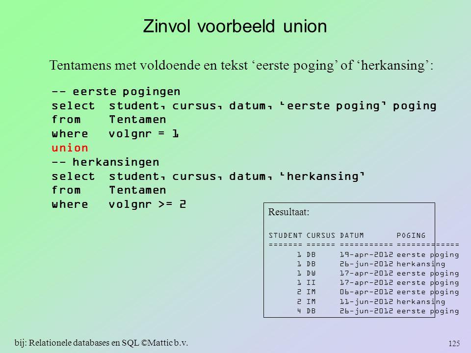 Zinvol voorbeeld union -- eerste pogingen select student, cursus, datum, 'eerste poging' poging from Tentamen where volgnr = 1 union -- herkansingen s