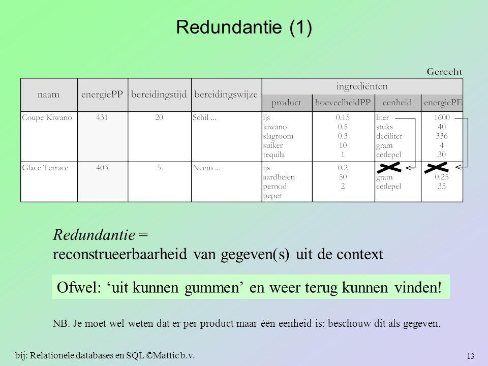 Redundantie (1) Redundantie = reconstrueerbaarheid van gegeven(s) uit de context Ofwel: 'uit kunnen gummen' en weer terug kunnen vinden! 13 bij: Relat