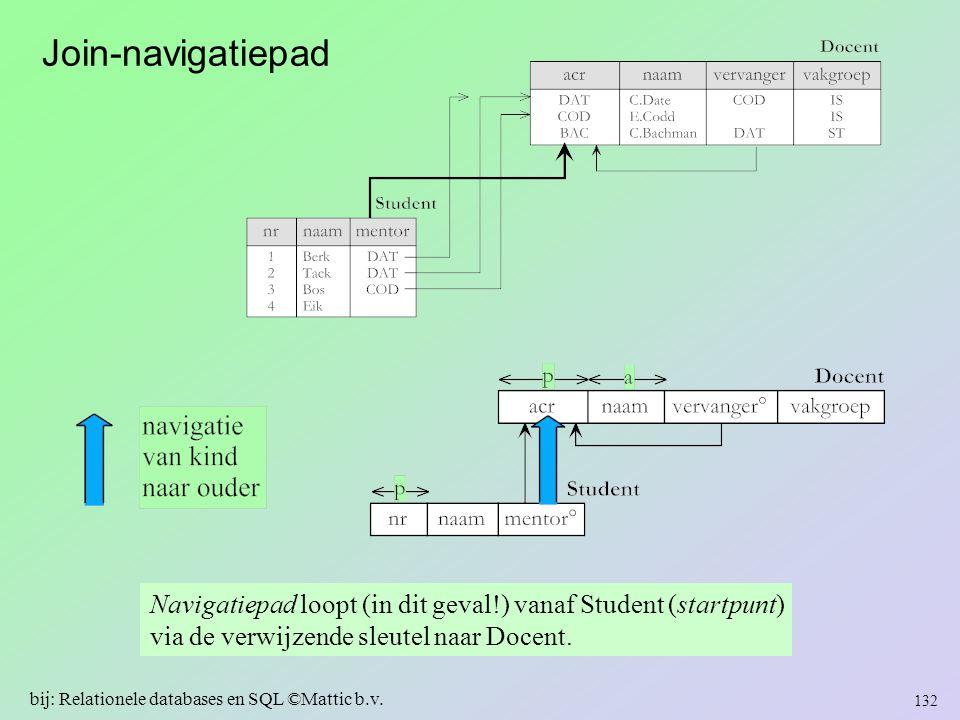Join-navigatiepad Navigatiepad loopt (in dit geval!) vanaf Student (startpunt) via de verwijzende sleutel naar Docent. 132 bij: Relationele databases