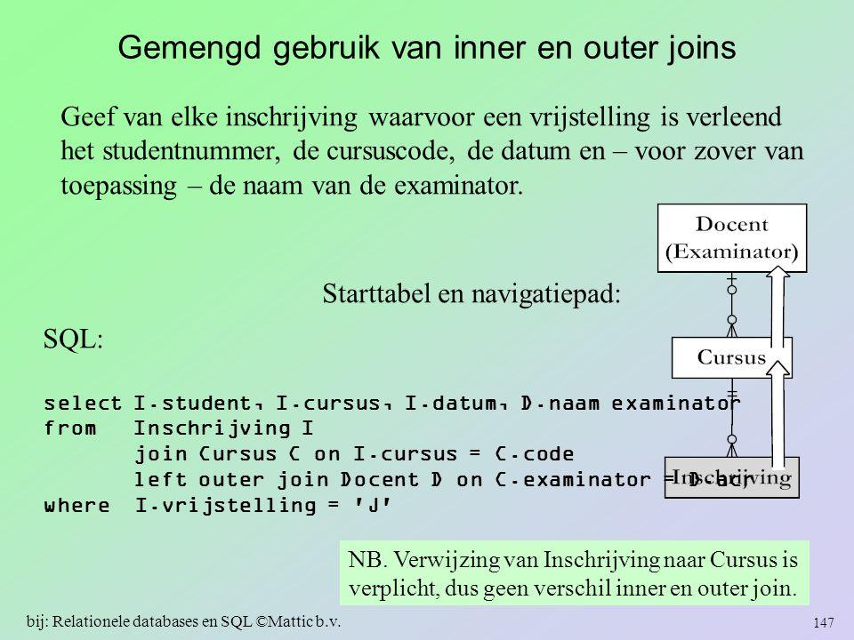 Gemengd gebruik van inner en outer joins Geef van elke inschrijving waarvoor een vrijstelling is verleend het studentnummer, de cursuscode, de datum e