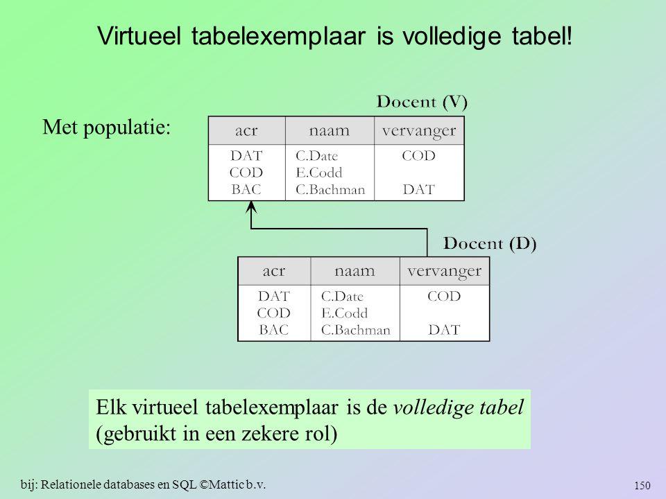 Met populatie: Elk virtueel tabelexemplaar is de volledige tabel (gebruikt in een zekere rol) 150 bij: Relationele databases en SQL ©Mattic b.v. Virtu