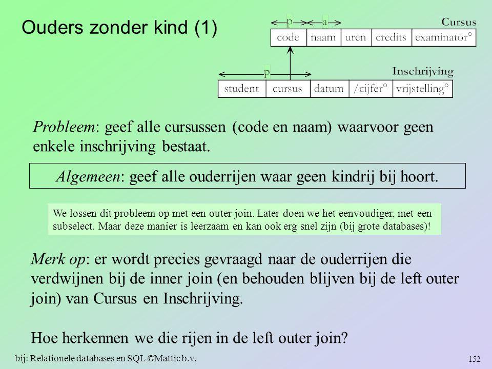 Ouders zonder kind (1) Probleem: geef alle cursussen (code en naam) waarvoor geen enkele inschrijving bestaat. Algemeen: geef alle ouderrijen waar gee