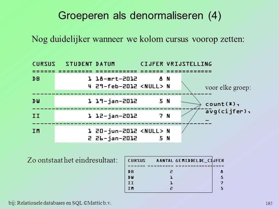 Groeperen als denormaliseren (4) Nog duidelijker wanneer we kolom cursus voorop zetten: Zo ontstaat het eindresultaat: CURSUS AANTAL GEMIDDELDE_CIJFER