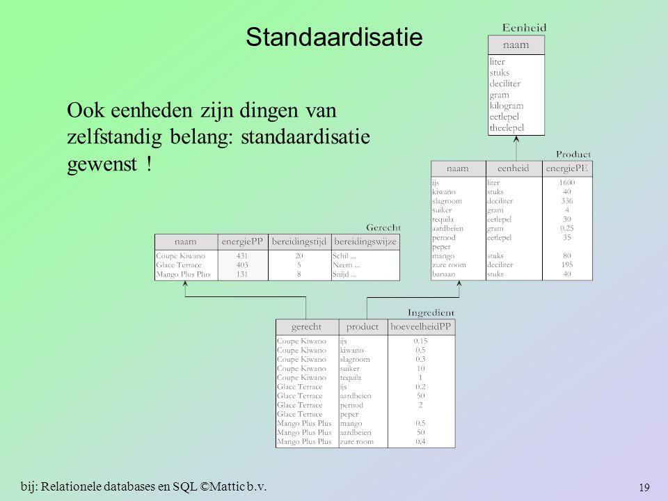 Standaardisatie Ook eenheden zijn dingen van zelfstandig belang: standaardisatie gewenst ! 19 bij: Relationele databases en SQL ©Mattic b.v.