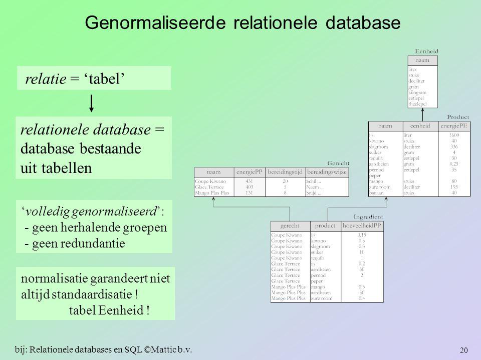 relationele database = database bestaande uit tabellen Genormaliseerde relationele database 'volledig genormaliseerd': - geen herhalende groepen - gee